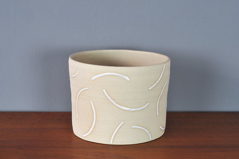Large Planter with White Curves by Hannah Bould