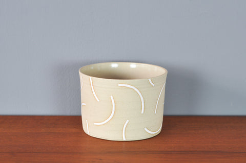 Medium Planter with White Curves by Hannah Bould