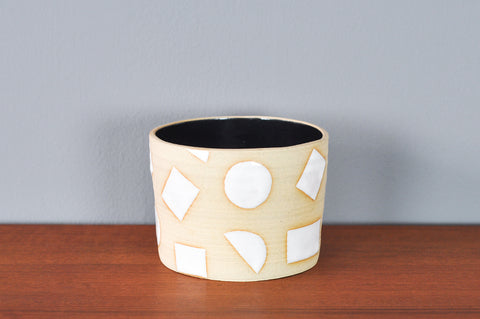 Medium Planter with White Shapes by Hannah Bould