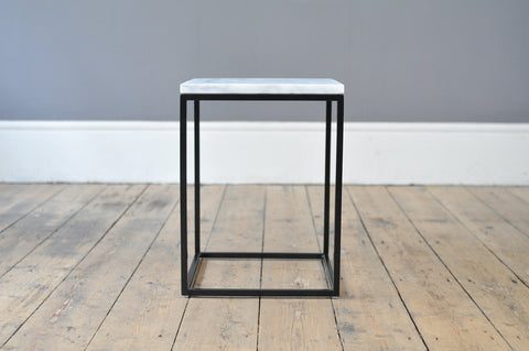 Contemporary Metal and Marble Side Table