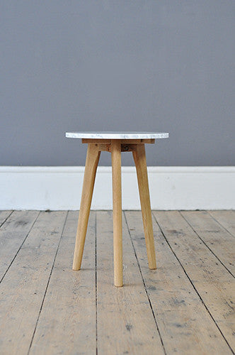 Small Contemporary Marble And Oak Side Table