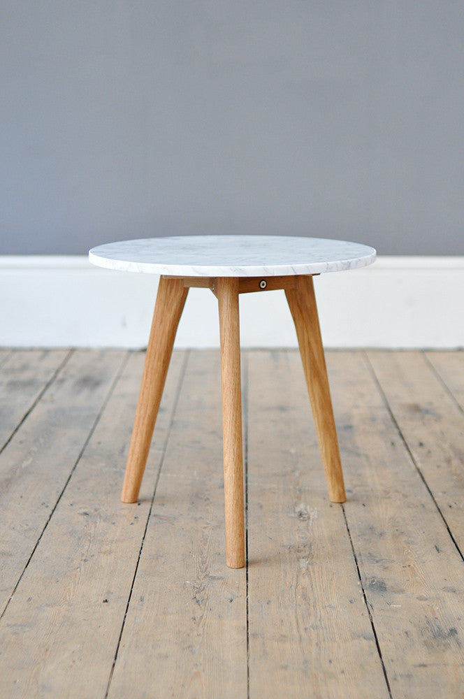 Medium Contemporary Marble and Oak Side Table Forest London