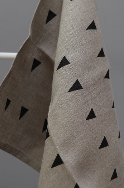 Linen Tea Towel with Triangle Print by Gail Bryson - Forest London