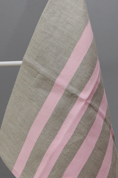Linen Tea Towel with Pink Stripe by Gail Bryson - Forest London