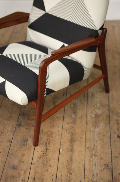 Geometric Upholstered Highback Armchair - Forest London