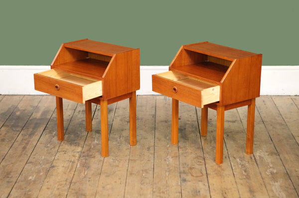 ON SALE // Pair of Teak Bedside Tables - Forest London