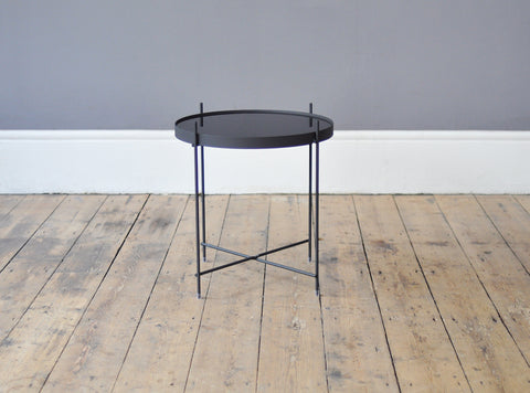 Contemporary Metal and Glass Side Table - Black