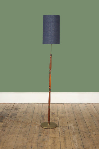 Rosewood Floor Lamp with Brass Detailing