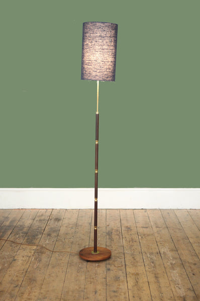 Danish Floor Lamp with Engraved Brass Stem