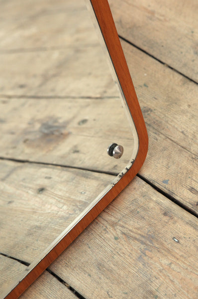 Curved Danish Teak Mirror