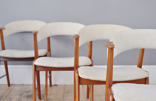 Set of four teak framed chairs by designer Kai Kristiansen