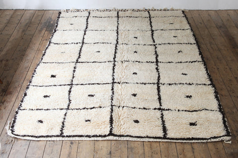 Beni Ouarain Carpet with Squares - Forest London
