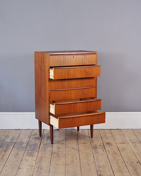 Teak Tallboy Chest Of Drawers - Forest London