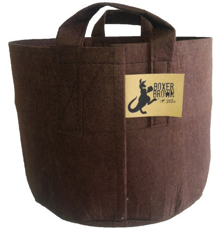 Root Pouch Brown Fabric Pot, 15 Gallon with Handle, Bundle of 10