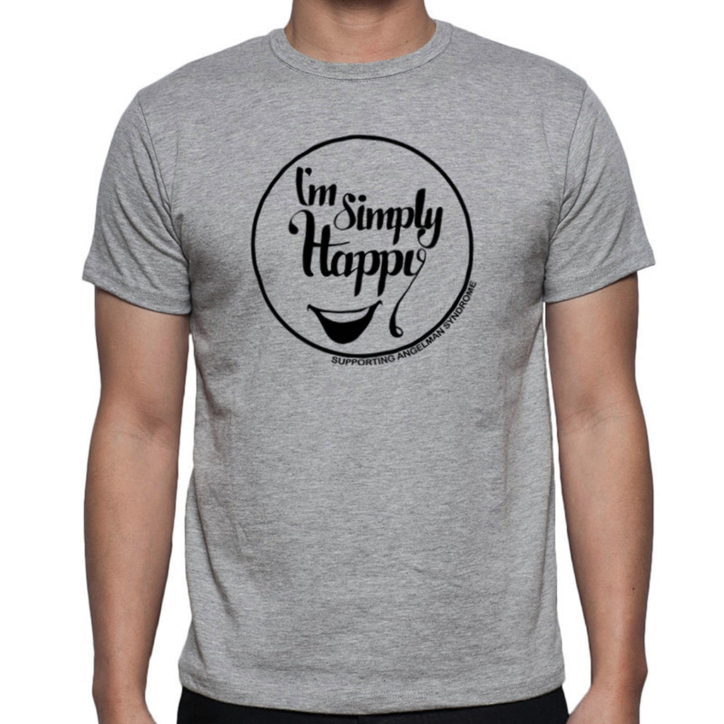 "//017// - Grey Unisex / Black ""I'm Simply Happy"" Angelman Logo T-Shirt"