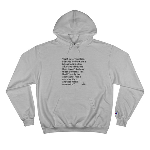 "Hoodie with Printed ""Autonomic"" Self Determination Lyrics - Bold Text"