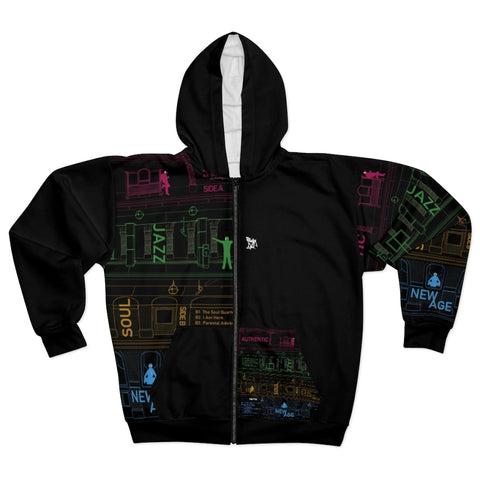 "Hoodie with Sectioned All Over Front Printed ""Autonomy"" Vinyl Back Cover"