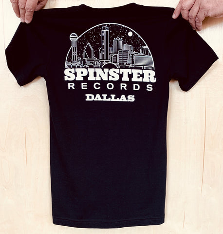 Spinster Records Dallas Skyline Black T-Shirt