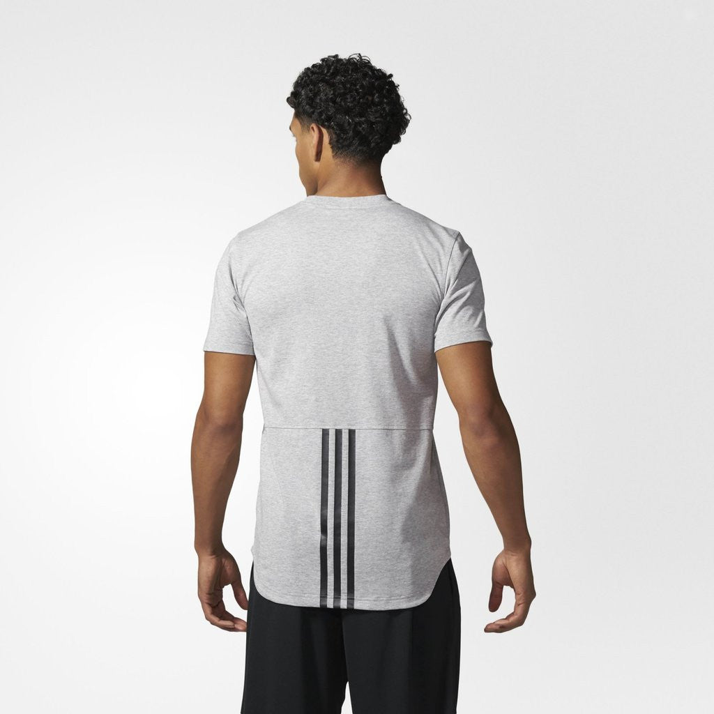 ADIDAS ATHLETICS ESSENTIALS DROPTAIL 3-STRIPES TEE GREY BQ1544