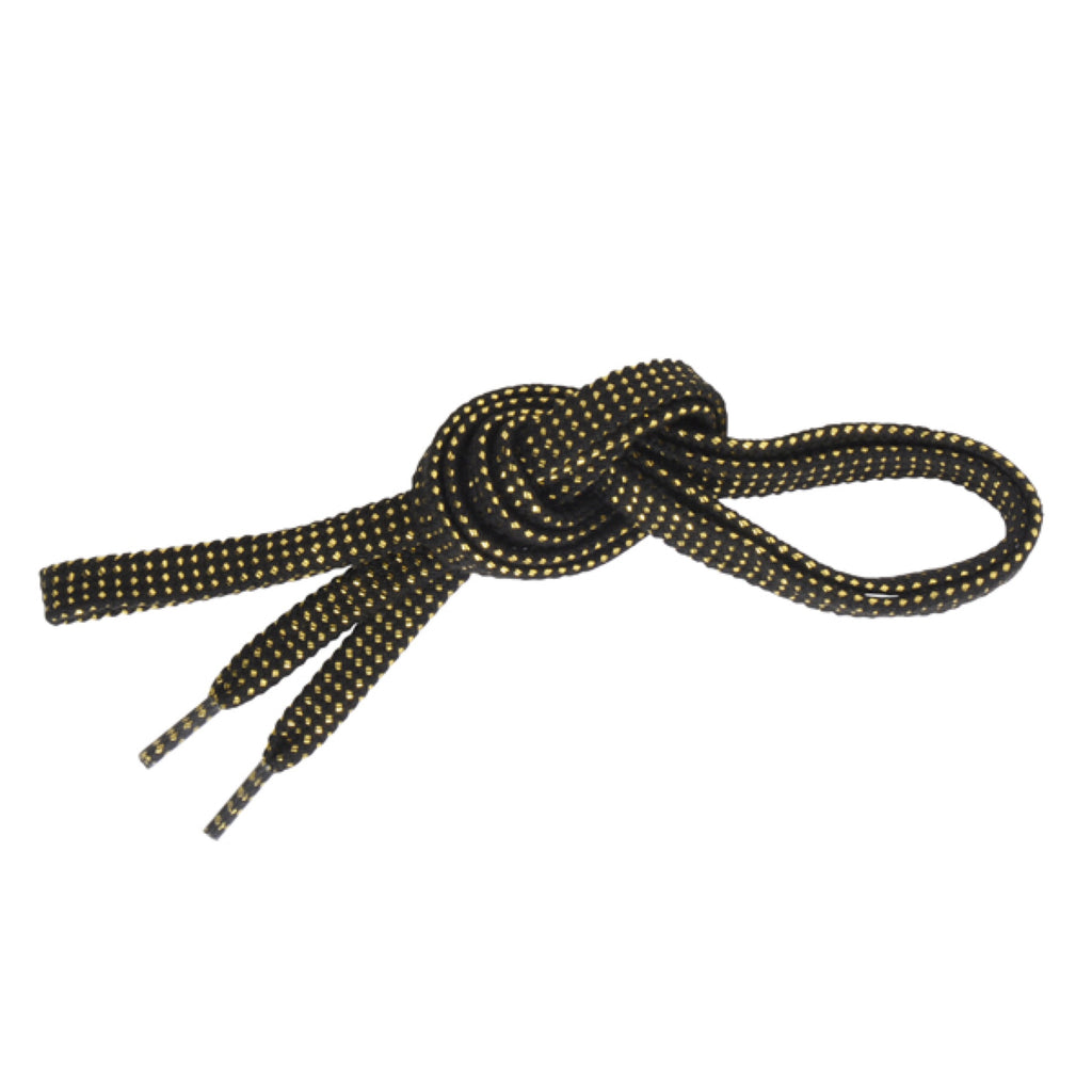 SHOE LACES BLACK / GOLD FLAT MADE IN JAPAN