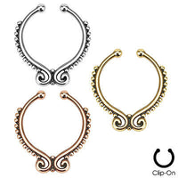 1pc Non-Piercing Beaded Line Septum Hanger