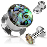PAIR Abalone Inlay Steel Screw Fit Plugs