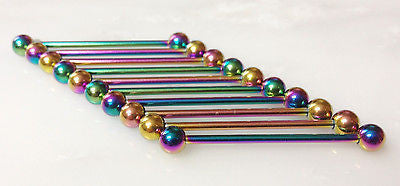 10pk Rainbow Plated 316L Steel Industrial Barbells