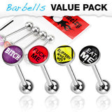4pc Value Pack Epoxy Dome Bad Word Tongue Rings