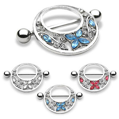 PAIR Butterfly Gem Nipple Rings Shields