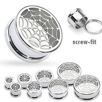 PAIR Screw-Fit Spider Web Steel Tunnels Spiderweb Plugs