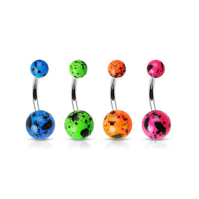 4pc Flourescent Splatter Ball Belly Rings 14g Navel naval Wholesale Body Jewelry