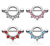PAIR Half Circle CZ Gem Lined Nipple Shields Rings