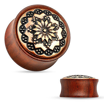 PAIR Floral Tribal Pattern Rose Wood Organic Saddle Plugs