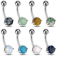 8pcs Semi-Precious Stone Solitaire Belly Rings Navel Naval