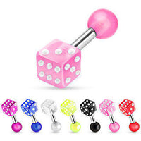 8pcs UV Dice Stud Tragus Rings