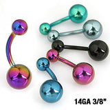 6pcs Titanium Anodized Belly Rings Navel Naval