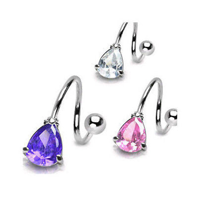 3pcs Teardrop Gem Spiral Belly Rings