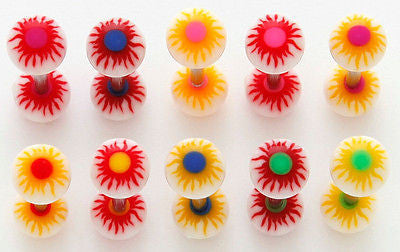 33pcs Sunburst UV Acrylic Tongue Rings
