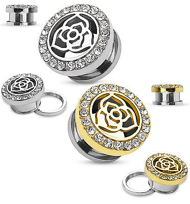 PAIR Gold or Steel Crystal Paved Rim with Rose Top Tunnels Plugs