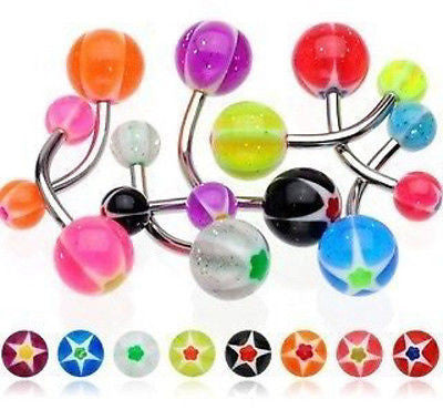25pcs Star Flower UV Acrylic Belly Rings 14g Navel Naval