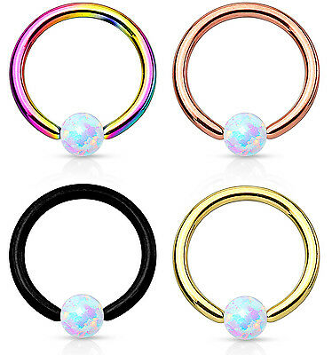 PAIR Synthetic Opal Ball Ion Plated Captive Bead Rings Body Jewelry 16g 5/16""