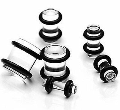 12pcs Clear Acrylic Plugs Set 00g,0g,2g,4g,6g,8g