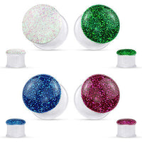 PAIR Glitter Front Clear Acrylic Tunnels Plugs