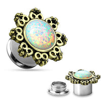 PAIR Internally Threaded Double Flare Lotus Flower w/ Opal Plugs