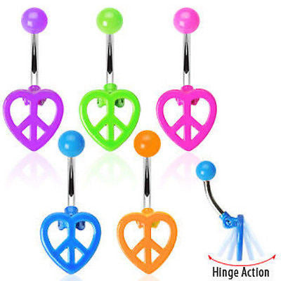 5pcs Neon Peace Heart Belly Rings Navel naval