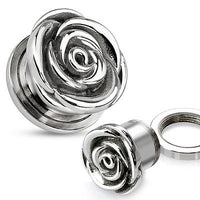 PAIR Screw Fit Rose Flower Plugs Tunnels