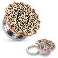 PAIR Rose Gold Tribal Flower Screw Fit Tunnels Plugs