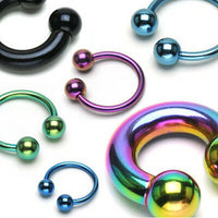 1pc Titanium Anodized Circular Barbell Horseshoe Septum, Eyebrow, Nipple Ring