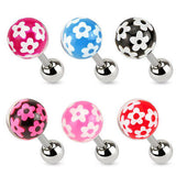 6pcs Epoxy Coated Flower Ball Stud 16g Tragus Rings