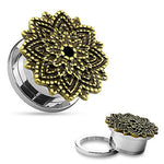 PAIR Manish Lotus Flower Top Steel Screw Fit Tunnels Plugs